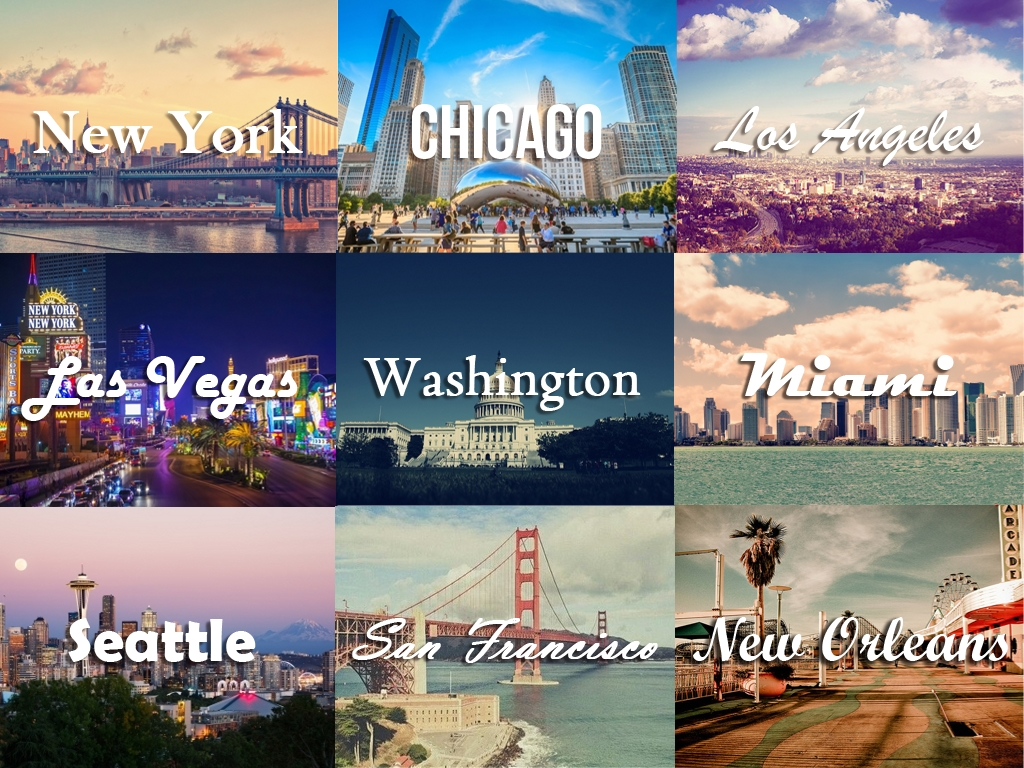 usa cities collage